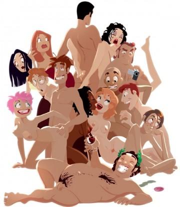 12 personnes empilées en partouze, dessins d'Arthur de Pins