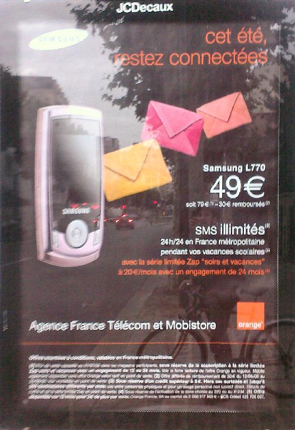 Une publicité Orange rose