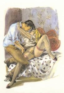 Suzanne Ballivet - couple s'enlaçant sur un lit