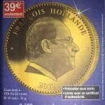 Médaille François Hollande - Cuni doré à l'or fin