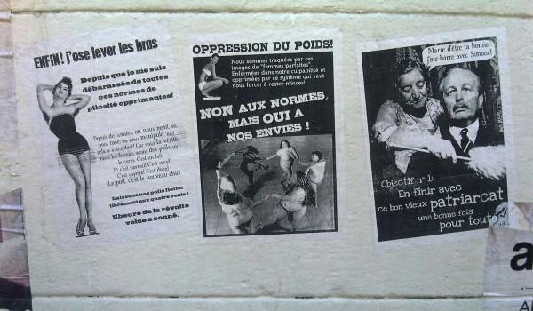 Affiches à Marseille prônant la liberté de vivre son corps tel qu'il est en faisant la peau au machisme par la même occasion