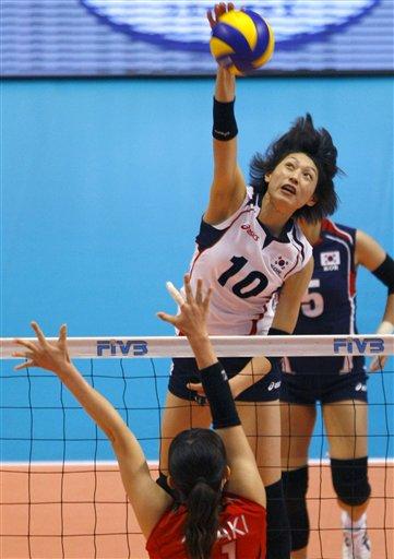 Kim Yeon-Koung en train de marquer un autre point magnifique, ses adversaires n'ont qu'à bien se tenir