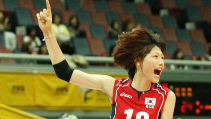 Kim Yeon-Koung qui vient de marquer un point magnifique, à n'en pas douter