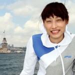 Kim Yeon-Koung qui traverse le Bosphore (elle joue en club à Istanbul)