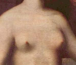 poitrine - détail du tableau Gabrielle d'Estrées et une de ses sœurs