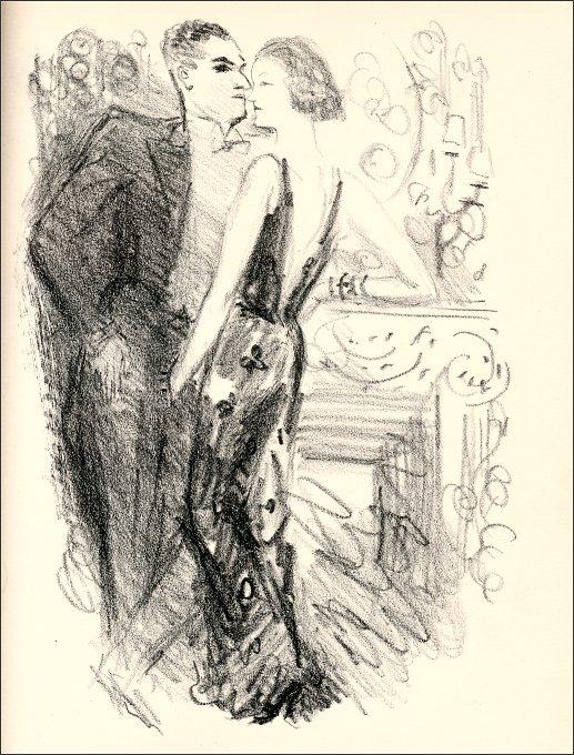 dessin noir et blanc: un homme en smoking fait face à une femme en robe de soirée, les deux très dignes, ne serait-ce la main de la femme plongée dans la braguette de l'homme