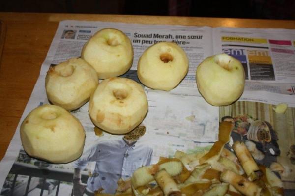 On épluche 6 belles pommes à tarte (j'ai pris des Canada en l'occurrence)