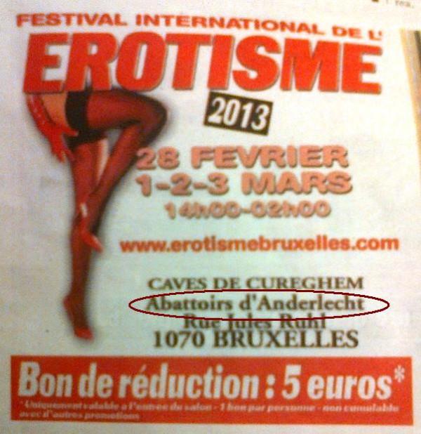 Publicité pour le Festival de l'érotisme à Bruxelles, tenant place dans les anciens abattoirs
