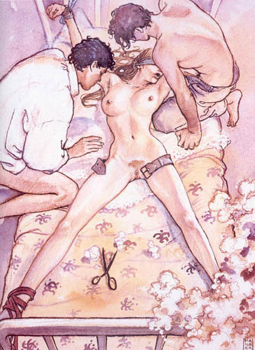 Dessin de Manara, une femme les yeux bandées, attachée sur un lit, deux hommes à son chevet