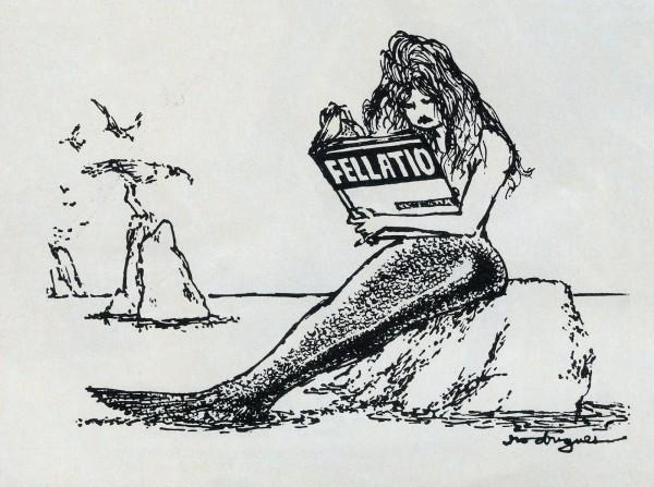 """Une sirène, assise sur un rocher, lit un livre intitulé """"Fellation"""" en faisant la moue - dessin de Charles Rodrigues"""