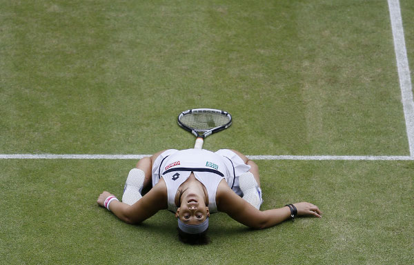 Marion Bartoli célèbre sa victoire en demi sur le gazon de Wimbledon