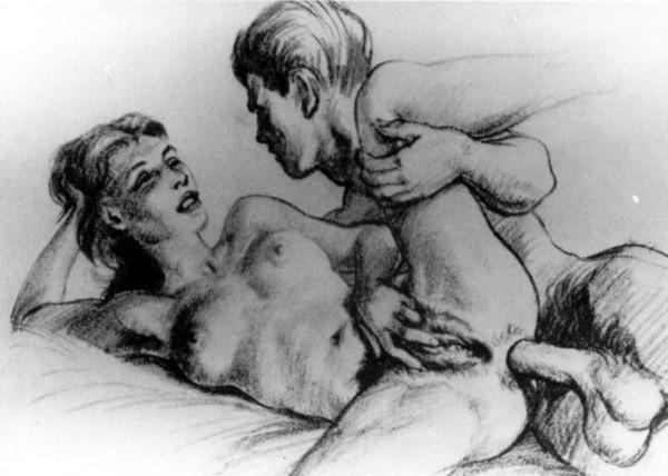 Dessin représentant une femme, sur le flanc, se caressant et souriant à l'homme qui la sodomise