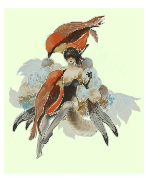 Femme et oiseaux dans un nid