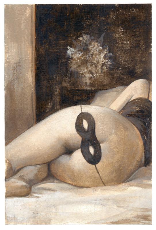 Carnevale - Gérard Dubois - une femme allongée sur le flanc, sur ses fesses pointées vers notre regard, un masque de carnaval