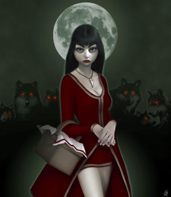 Petit chaperon rouge affriolant entourée d'une meute de loups aux yeux de sang