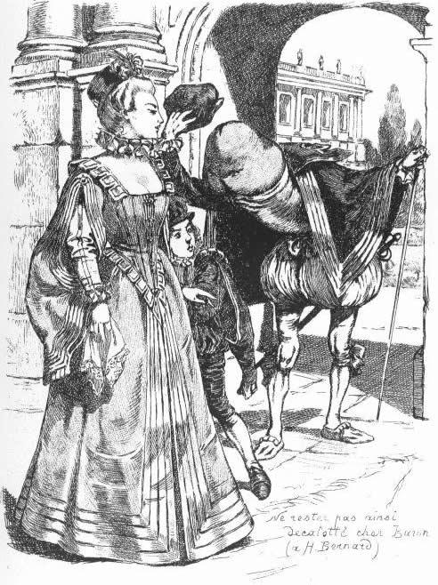 Une femme élégante se fait saluer par une tête de nœud (littéralement)