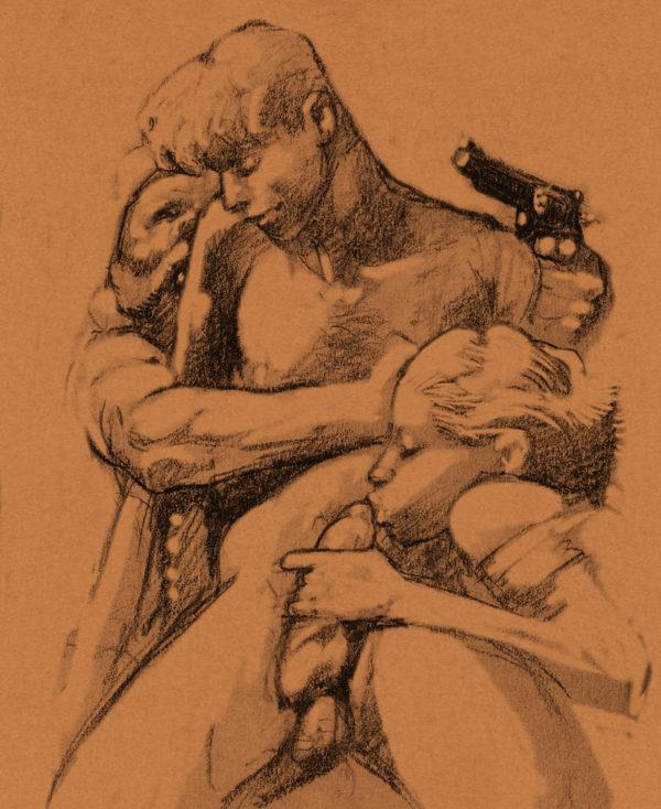 Une des illustrations des onze mille verges d'Apolinaire par Liberatore