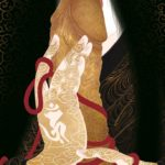 Estampe japonaise, un sexe dressé entouré d'un ruban rouge, porté à une bouche gourmande