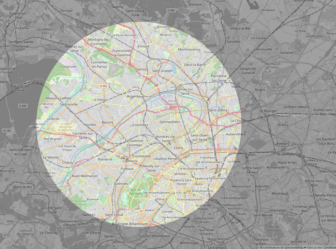 Carte de la limite de 10 kilomètres où je peux faire mon jogging durant le confinement