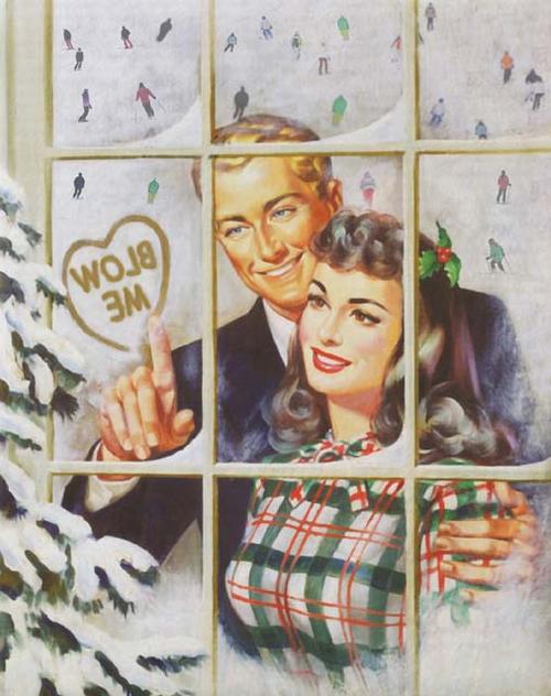 Un couple à sa fenêtre se souriant tendrement; l'homme dessine un cœur sur la buée de la fenêtre où l'on peut lire «blow me»